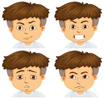Menino, com, diferente, emoções vetor