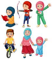 Um conjunto de pessoas muçulmanas vetor
