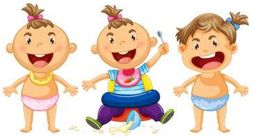 Três bebês com um grande sorriso vetor