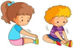 Conjunto de estiramento de menino e menina vetor