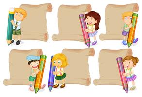 Modelos de papel com crianças segurando lápis de cor