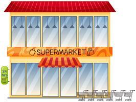 Um edifício de supermercado em fundo branco vetor