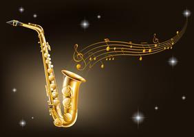 Saxofone dourado em fundo preto vetor