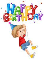 Menino e balão de feliz aniversário vetor