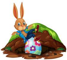 Feliz Páscoa coelho e ovos vetor