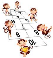 Seis macacos brincando de amarelinha vetor