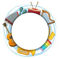Modelo de quadro com instrumentos musicais vetor