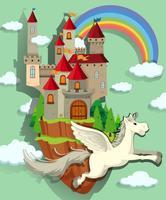 Pegasus voando sobre o palácio vetor