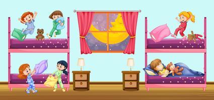 Crianças, dormir, em, quarto vetor