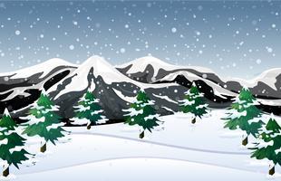 Fundo de neve do inverno branco vetor