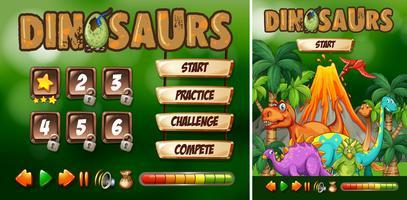 Modelo de jogo com tema de dinossauro vetor