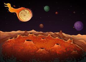 Cometa e outros planetas na galáxia vetor
