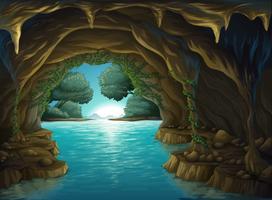 Uma caverna e uma água vetor