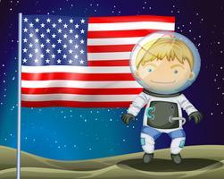 Um explorador ao lado da bandeira da América vetor