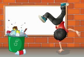 Um menino breakdancing perto de uma lata de lixo com um tabuleiro vazio vetor