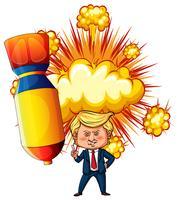 Presidente dos EUA Trump com bomba atômica no fundo vetor