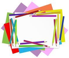 Papéis vazios com lápis coloridos vetor