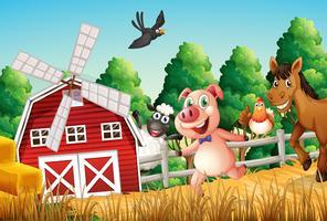 Feliz, fazenda, animais vetor