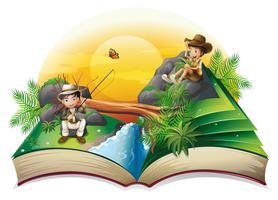 Um livro sobre dois exploradores vetor