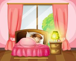 Uma menina dormindo em uma cama vetor