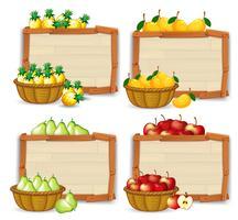 Fruta no banner de madeira vetor