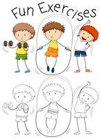 Conjunto de exercício de pessoas de doodle vetor