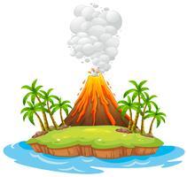 Ilha do vulcão vetor