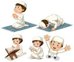 Um, jogo, de, muçulmano, menino vetor
