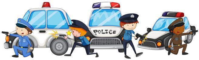 Policial com arma pelos carros da polícia vetor