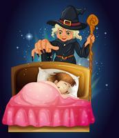 Uma menina dormindo com uma bruxa na parte de trás