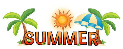 Design de fonte para verão de palavra vetor