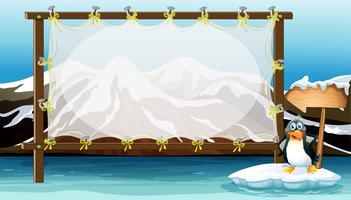 Design de moldura com pinguim no iceberg vetor