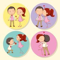 Casal de amor no crachá redondo vetor