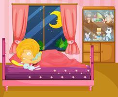 Uma menina dormindo profundamente em seu quarto vetor