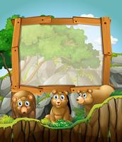 Design de moldura com três ursos na caverna vetor