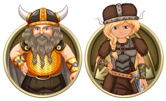 Viking masculino e feminino no crachá redondo vetor