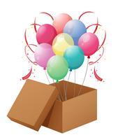 Balões na caixa vetor