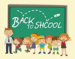 Crianças e professor de volta à escola vetor