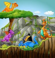 Dragões que vivem na caverna vetor