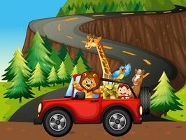 Animais e carro vetor