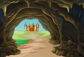 Vista, de, caverna, e, castelo vetor