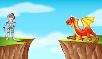 Cavaleiro e dragão no penhasco vetor