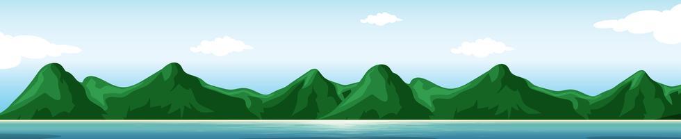 Montanha na cena da ilha