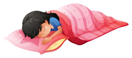 Um, mulher jovem, dormir vetor