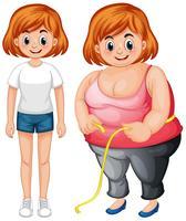 Menina com corpo magro e gordo