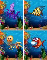Monstros marinhos nadando sob o mar vetor