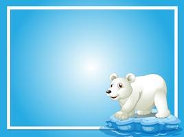 Modelo de quadro com fofo urso polar vetor