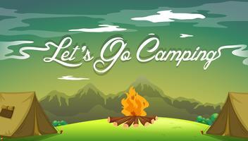 Um, cartaz, mostrando, um, campsite vetor