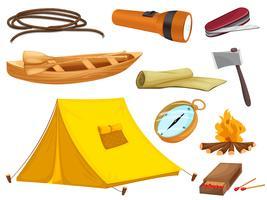 vários objetos de camping vetor