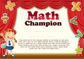 Certificação com tema de menina e matemática vetor